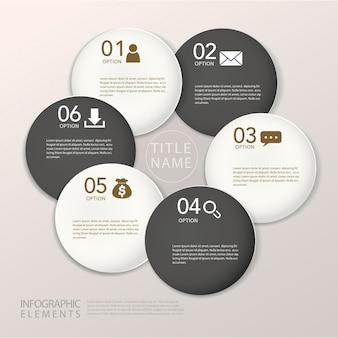 Modelo de elementos de infográfico de círculo de papel abstrato moderno