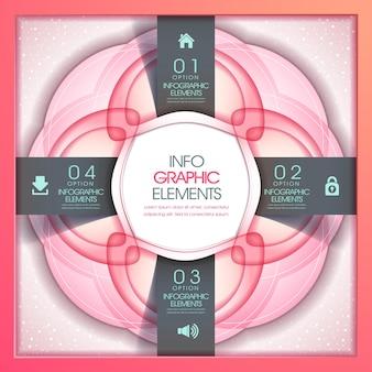 Modelo de elementos de infográfico de conceito de flor abstrata em rosa