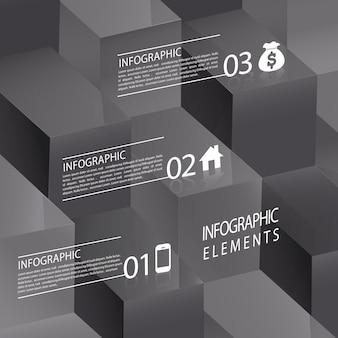 Modelo de elementos de infográfico de cubo 3d abstrato moderno