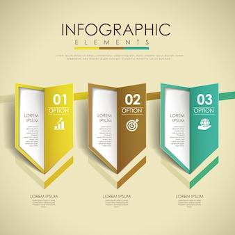 Modelo de elementos de infográfico de design de opções de setas coloridas