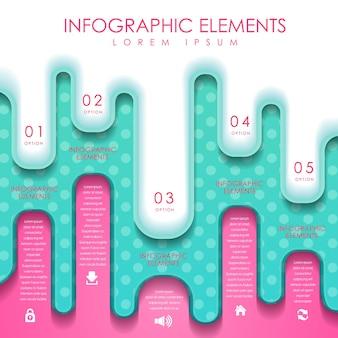 Modelo de elementos de infográfico de estilo de fusão criativo colorido