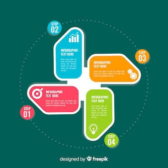 Modelo de elementos de infográfico de etapas coloridas