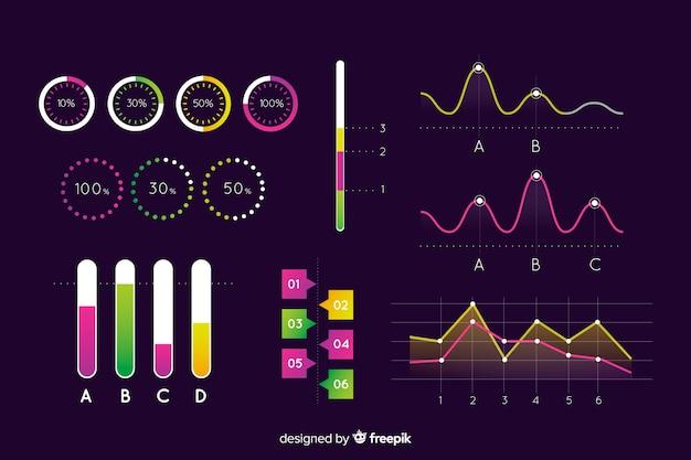 Modelo de elementos de infográfico de evolução escura