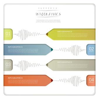 Modelo de elementos de infográfico de gráfico de barras de lápis de papel criativo