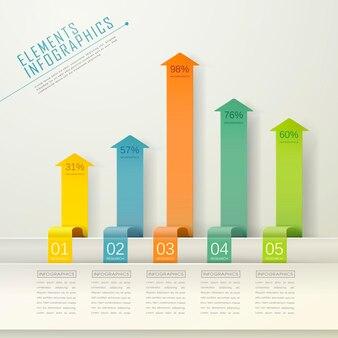 Modelo de elementos de infográfico de gráfico de barras de seta moderno