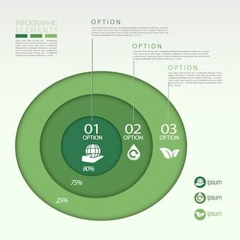 Modelo de elementos de infográfico de gráfico de pizza de conceito ecológico moderno