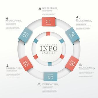 Modelo de elementos de infográfico de gráfico de pizza realista moderno