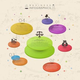 Modelo de elementos de infográfico de gráfico de pizza translúcido colorido