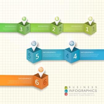 Modelo de elementos de infográfico de marca de localização de papel moderno abstrato