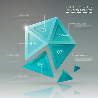 Modelo de elementos de infográfico de pentágono geométrico translúcido abstrato