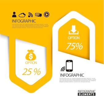 Modelo de elementos de infográfico de seta de papel abstrato em amarelo