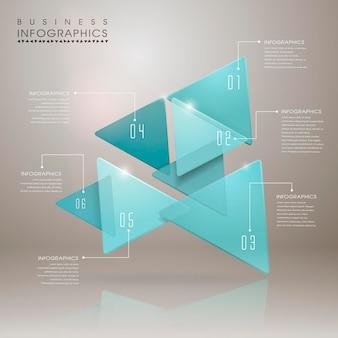 Modelo de elementos de infográfico de seta geométrica translúcida abstrata
