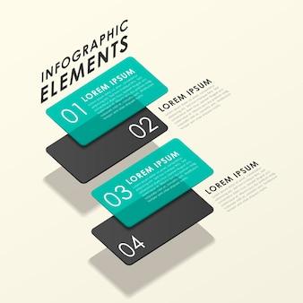 Modelo de elementos de infográfico de tag translúcido abstrato moderno