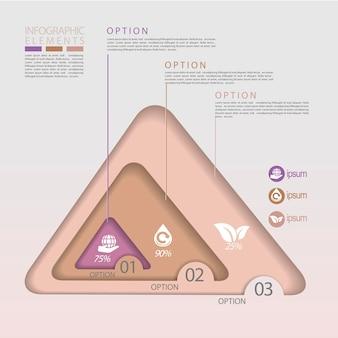 Modelo de elementos de infográfico de triângulo de conceito ecológico moderno