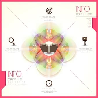 Modelo de elementos de infográfico redondo translúcido brilhante abstrato