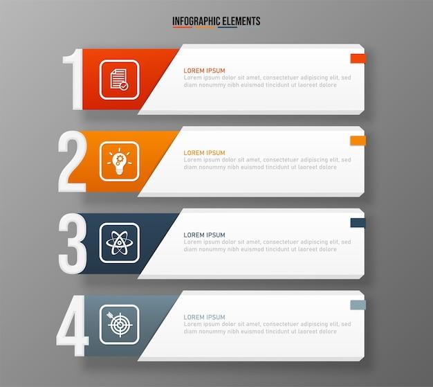Modelo de elementos de infográficos coloridos, conceito de negócio com 4 opções
