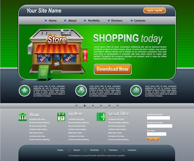 Modelo de elementos de site de design da web verde escuro