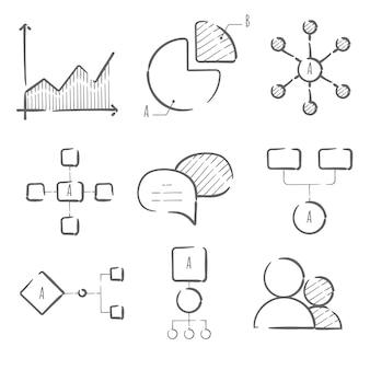 Modelo de elementos desenhados mão infográfico