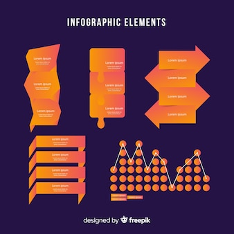 Modelo de elementos infográfico gradiente