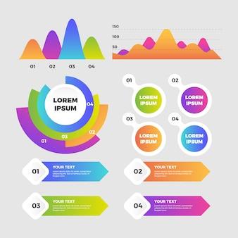 Modelo de elementos infográfico plana