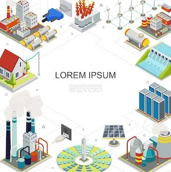 Modelo de eletricidade e energia isométrica com combustível geotérmico hidrelétrico centrais nucleares painéis solares moinhos de vento porta-gás plugues tomadas transformador elétrico ilustrador