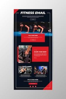 Modelo de email de comunicação de fitness Vetor grátis
