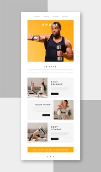 Modelo de email de comunicação de fitness