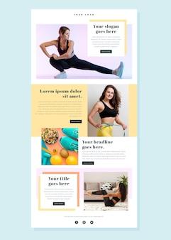 Modelo de email de fitness com fotos e notícias