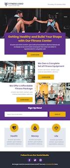 Modelo de email de fitness com notícias