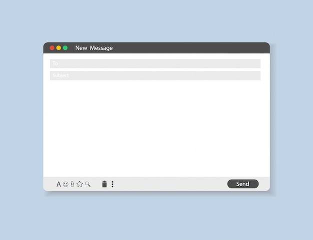 Modelo de email em branco interface de quadro de correio da internet para mensagem de correio.