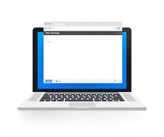 Modelo de email. janela do navegador de email em branco. quadro de página da mensagem de email. ilustração.