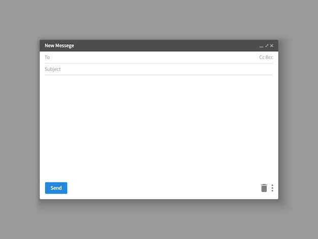 Modelo de email. janela do navegador de email em branco. quadro de vetor de página da web de mensagem de email