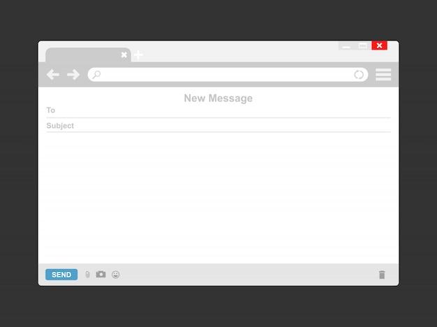 Modelo de email ou janela do navegador de email em branco