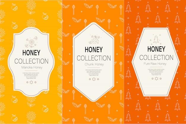 Modelo de embalagem com padrões. coleção de mel natural.