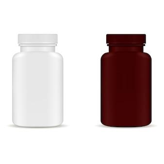 Modelo de embalagem de garrafa de comprimido. pacote de medicamentos em branco