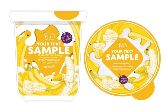 Modelo de embalagem de iogurte de banana.