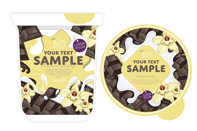 Modelo de embalagem de iogurte de chocolate baunilha