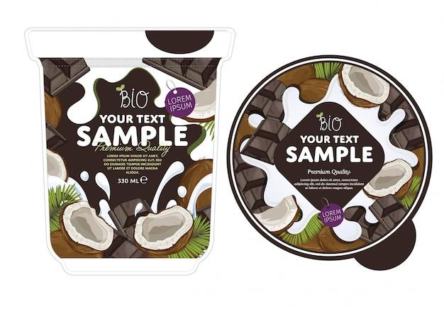 Modelo de embalagem de iogurte de chocolate cereja.
