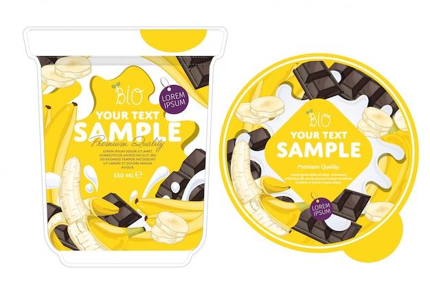 Modelo de embalagem de iogurte de chocolate de banana.