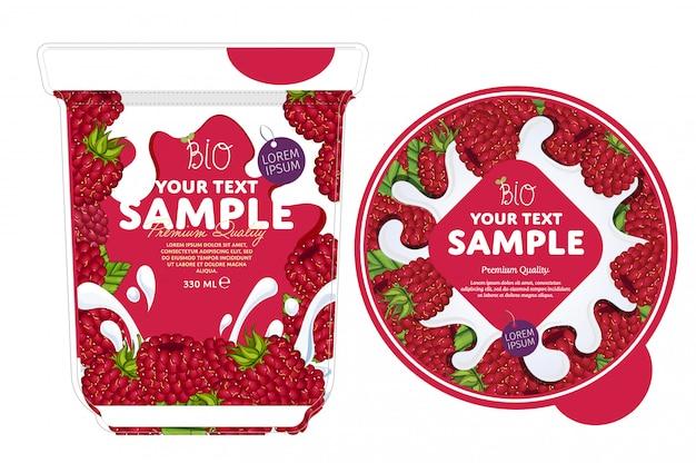 Modelo de embalagem de iogurte de framboesa.