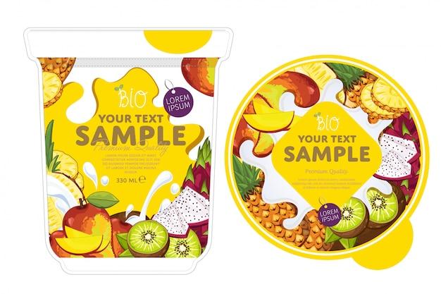 Modelo de embalagem de iogurte de frutas tropicais.