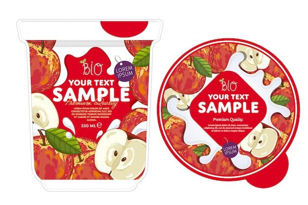Modelo de embalagem de iogurte de maçã.