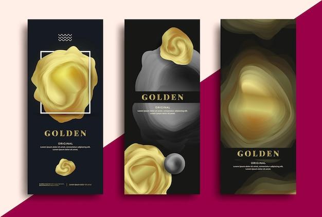 Modelo de embalagem de luxo de vetor com formas douradas. ilustração vetorial