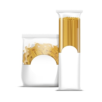 Modelo de embalagem de macarrão espiral de espaguete e fusilli isolado