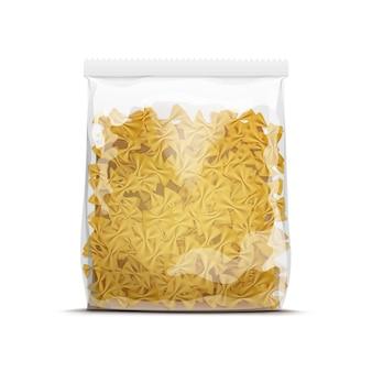 Modelo de embalagem de macarrão farfalle laço isolado