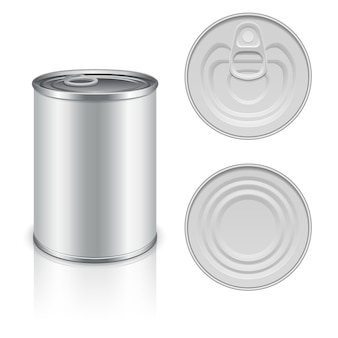 Modelo de embalagem de metal em conserva para seu projeto. alumínio enlatado para alimentos, pacote de aço