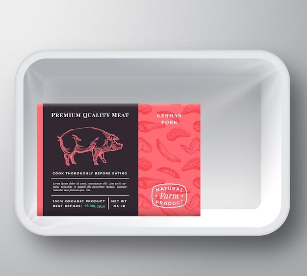 Modelo de embalagem de recipiente de bandeja de plástico para carne de porco