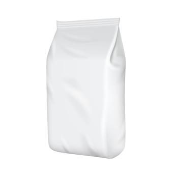 Modelo de embalagem em branco isolado no branco.