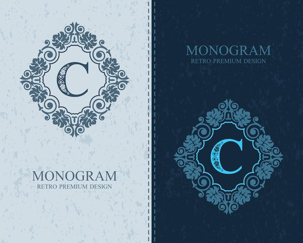 Modelo de emblema c carta, elementos de design do monograma, modelo gracioso caligráfico.