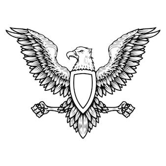 Modelo de emblema com águia em estilo de gravura